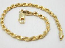 """GOLD OVER STERLING SOLID ROPE BRACELET 7"""" / 2.8 MM / 5.1 GRAMS"""