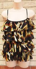 LIPSY BLACK YELLOW LEOPARD ANIMAL STRAPPY TIERED RUFFLE BLOUSE TUNIC TOP CAMI 10