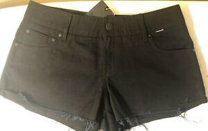 Hurley Women's 3 5 7 9 11 Shorts Black Lowrider 5 Pocket AV7969 Raw Edge Hem