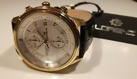 Herrenuhr LORENZ,Chrono,42 mm,klassisch,Gold,Lederband,Chronograph,100 mt