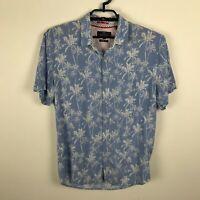 Michael Brandon Slim Fit Shirt Size L Blue Hawaiian Short Sleeve Button Up Rayon