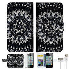 Black AZTEC TRIBAL Wallet Case Cover For Apple iPhone 4 4S -- A005