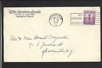 SPRINGFIELD,ILLINOIS, 1941 COVER, ADVT HOTEL, ABRAHAM LINCOLN. TO NYS.