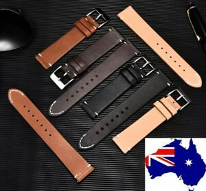 Stitched Tip Quick Release Oiled Saddle Leather Italian Style Watch Band Strap