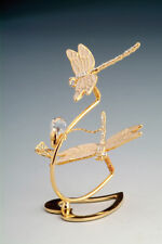 """SWAROVSKI CRYSTAL ELEMENTS """"Double Dragonflies"""" - FREE STANDING 24KT GOLD PLATED"""
