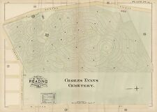 1884, Reading, Berks County, Pa, Charles Evans Cemetery, Copy Plat Atlas Map