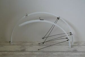 Vintage White Plastic Full Length Mudguards 32mm Pair 700c