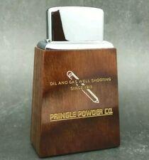 Roseart Short Wood Table Lighter - Pringle Powder Company - Oil & Gas 1960s rare