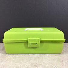 """Vintage Adventurer Lime Green Plastic Tackle Box Model 1099 Craft Case 12"""" Usa"""