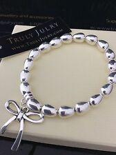 femmes de luxe créateur argent extensible BRACELET NOEUD CHARM cadeau Bijoux GB