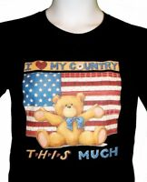 American Flag Shirt, Teddy Bear - I Love My Country, Americana - Small - 5X