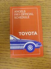 1983 scheda di impianti: Baseball-California Angels (TOYOTA-Pieghevole Stile). qualsiasi F