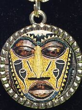 "Tribal Indian African Mask Olive Charm Tibetan Silver 18"" Necklace AM14"