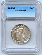 High Grade 1945-S Walking Liberty Silver Half Dollar. ICG  Graded MS 65.Lot#2422