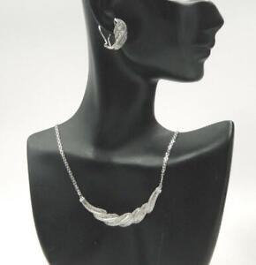 """1ct Natural Diamond Pave Cluster Sterling Silver Necklace & Earrings Set by """"M"""""""