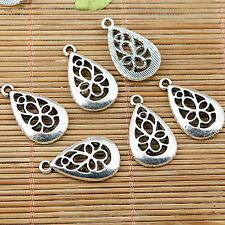 12pcs tibetan silver plated tear shaped hollow drop charm pendants EF1907