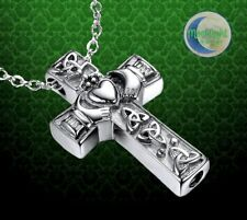 New Irish Claddagh Heart Cross Cremation Urn Ash Holder Silver Memorial Necklace