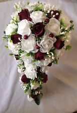 Wedding Flowers Bride's Shower Bouquet White & Burgundy Roses & Berries & Gyp