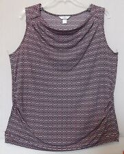 CJ Banks Size 2X Sleeveless Medallion print knit top,drape neck, pink,black NWT