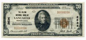 1929 US. NATIONAL CURRENCY LANCASTER PENNSEYLVANIA $20 DOLLARS AXF.
