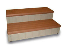 "Leisure Accents 36"" Long Deluxe Deck Patio Spa Hot Tub Steps Redwood/Gray LASS36"