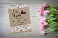 Personalised Save The Date Cards X 10 Wedding Kraft Lace Effect A6 SD365