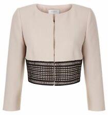 HOBBS Women's RENATA Cropped Jacket, Latte Beige/Black, size UK 12