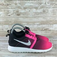 Nike Roshe One Flight Youth Size 6.5Y Black Pink Ombre Athletic Running Shoes