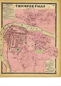 1870 map of Chicopee Falls, Mass. from Atlas of Hampden County, w/family names