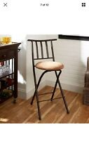 Folding Bar Stools Slat Back 24 Inch Bronze Beige Home Kitchen Dining Chair Seat