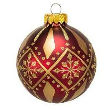 80MM Burgundy and Gold Patterned Glass Ball Ornaments, 6-Piece Box Set w