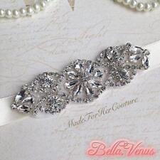 Womens Bridal Wedding Formal Silver Rhinestone White Sash Belt