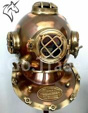 Antique Brown Boston Scuba Marine Deep Sea Morse Diver Navy Brass Diving Helmet