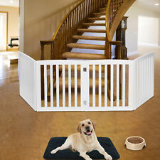 Wooden Dog Pet Gate Fence Baby Playpen 4 Panel Folding Free Standing Indoor 24