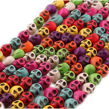 50 PCS Multi-Colored Turquoise Skull Head Howlite Spacer Loose Beads Charms 10mm