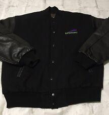 Vintage Kawasaki Motorsports Leather Wool Varsity Jacket Size M Racing Black