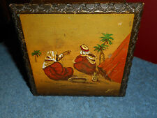 Vintage Wood Cigarette Case Box Hand Painted Arab Desert Painting Holds 20