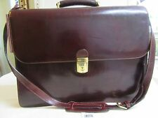 Bosca Briefcase, Flapover, Triple Gusset, Dark Brown, Old Leather