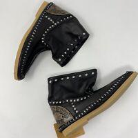 L'Artigiano di Riccione Italy Black Leather Ankle Boots Booties Size 10 NWT
