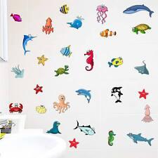 Sealife Peces Baño Pegatinas De Pared Calcomanías De Niños Dibujos Animados Octopus Juegos 34 un.