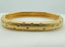 Signed Swarovski Bracelet Hinged Bangle Gold Plated Crystal B368
