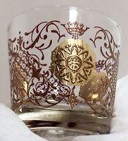 Vtg Libbey Crown & Gold Crest Scrolls Rocks Glass 9 oz  Old Fashioned RARE!