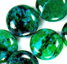 12mm Azurite Chrysocolla Coin Gemstone Loose Beads 15""