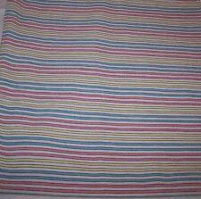Scampolo Tessuto Bianco Righe giallo rosa verde Cotone Stoffa Arredo cm 150 x 74