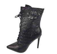 Womens Black Faux Leather Mock Croc High Heel Shoes Ankle Boots Size UK 6 New