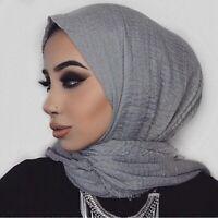Women Long Spring Cotton Linen Scarf Shawl Head Hijab Muslim Scarves Wrap Warm