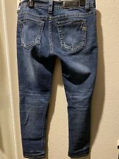 MISS ME Mid Rise Skinny Jeans Thick Stitch Distressed Size 31/30