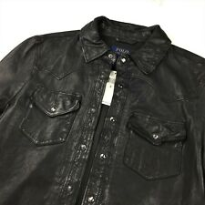 Polo Ralph Lauren Men Washed 100% Sheep Leather Western Shirt Leather Jacket S