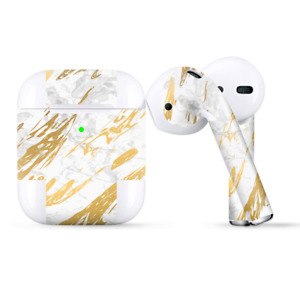 Skins Wraps compatible for Apple Airpods  gold marble white granite stone slate