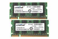 Crucial 4 GB 2x 2GB 2Rx8 PC2-6400 DDR2 800Mhz SODIMM Laptop memory Intel CPU 6H